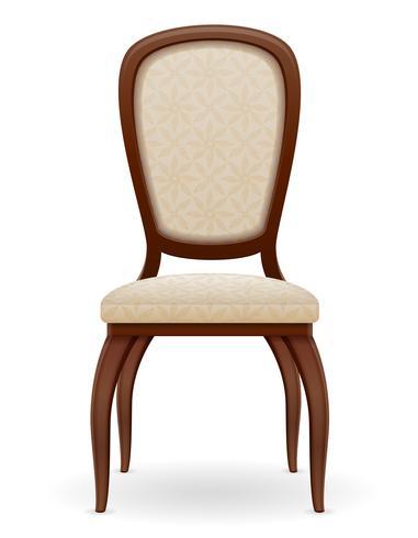 houten stoelmeubilair met opgevulde rugleuning en zetels vectorillustratie vector