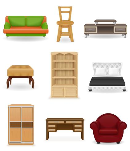 stel pictogrammen meubilair vectorillustratie vector