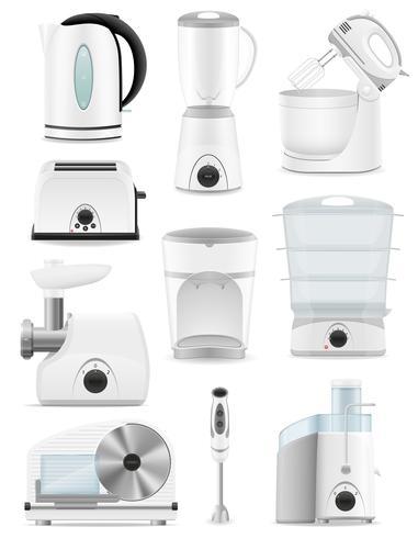 stel pictogrammen elektrische apparaten voor de keuken vectorillustratie vector