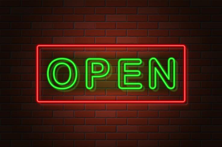 gloeiende neon uithangbord open vectorillustratie vector