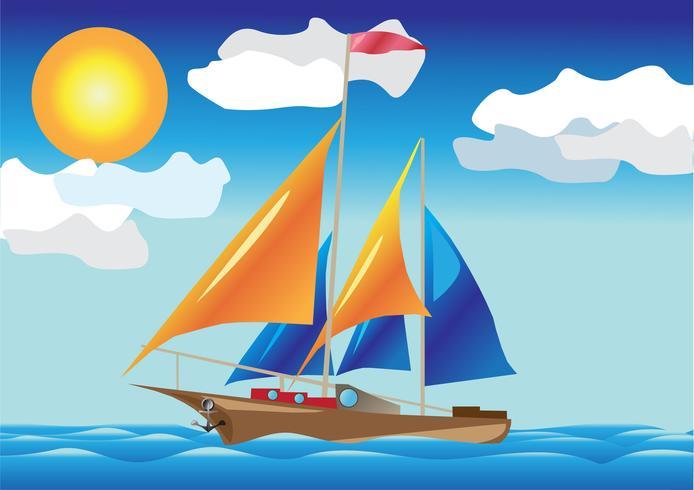 schip met zeilen aan de zeezijde vector