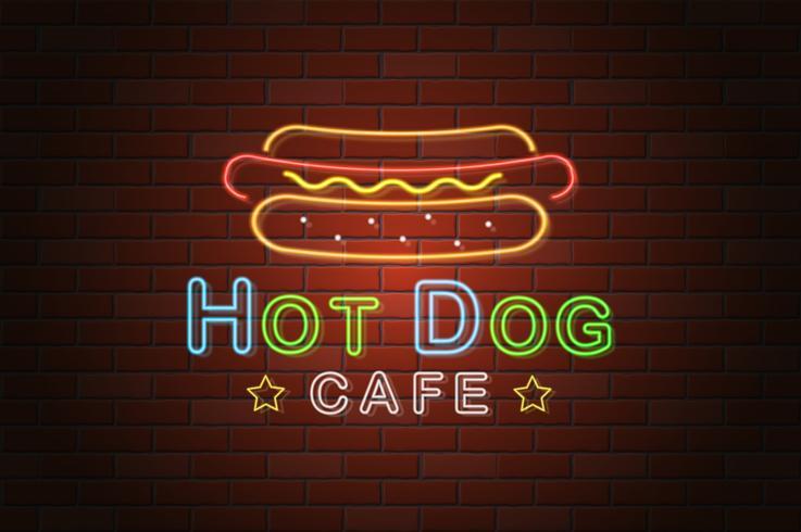 gloeiende neon uithangbord hotdog café vectorillustratie vector