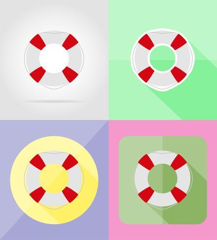 reddingsboei plat pictogrammen vector illustratie