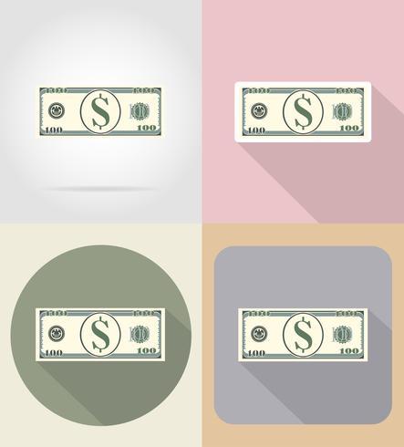 bankbiljet honderd dollar plat pictogrammen vector illustratie