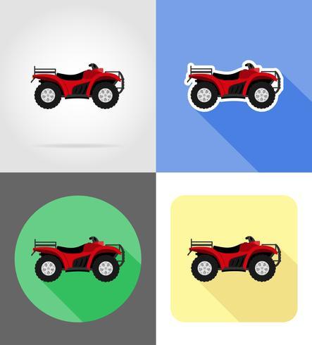 atv motorfiets op vier wielen van wegen plat pictogrammen vector illustratie