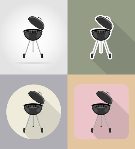 barbecue grill plat pictogrammen vector illustratie