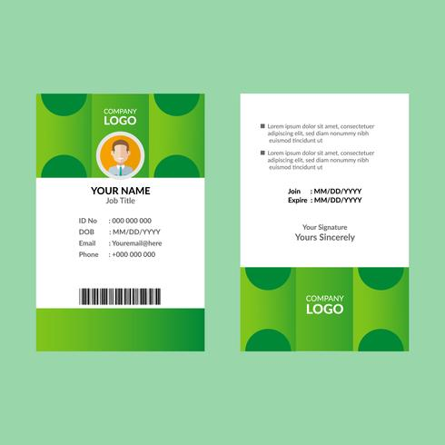 Groene identiteitskaart sjabloon vector