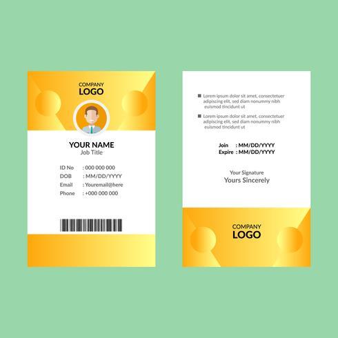 Gele identiteitskaart sjabloon vector