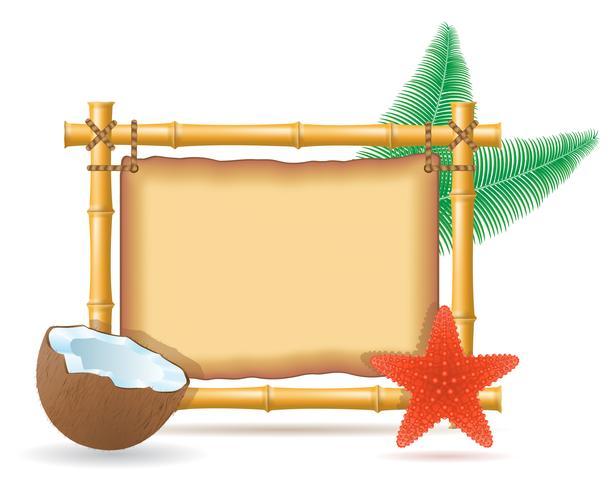 bamboe frame en kokosnoot vectorillustratie vector