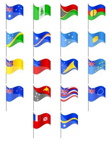vlaggen van de landen vectorillustratie van Oceanië vector