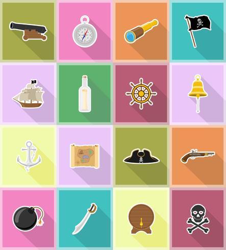 piraat plat pictogrammen vector illustratie
