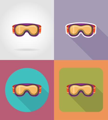 ski en snowboarden glazen plat pictogrammen vector illustratie