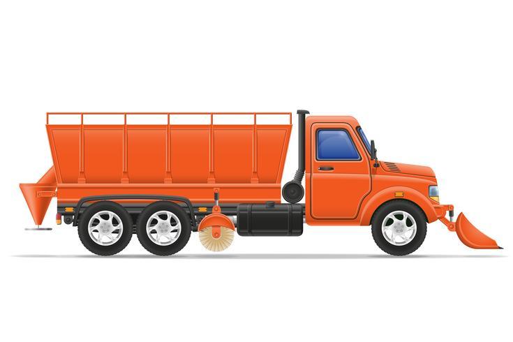 vrachtvrachtwagen opruimen sneeuw en bestrooid op de weg vector illustratie