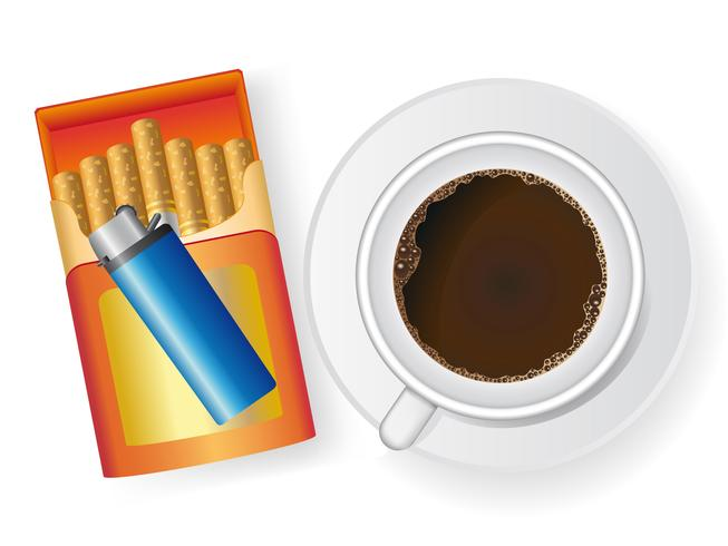 kopje koffie en sigaret in doos met een sigarettenaansteker vector