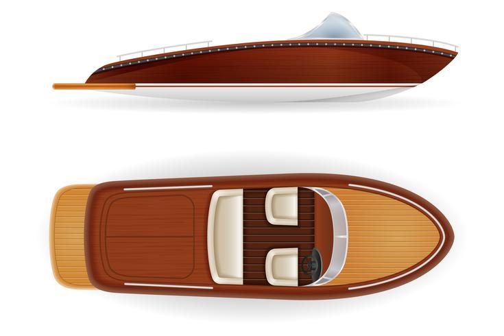 motorboot vintage oude retro gemaakt van houten vectorillustratie vector