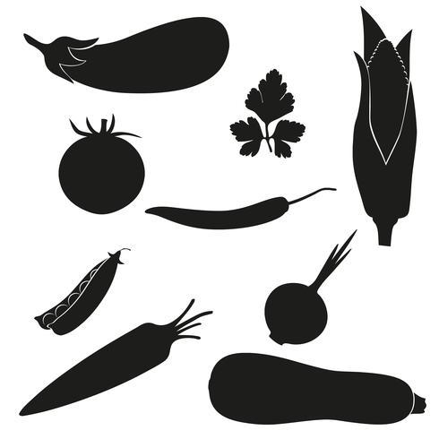 reeks van pictogrammengroenten vectorillustratie zwart silhouet vector