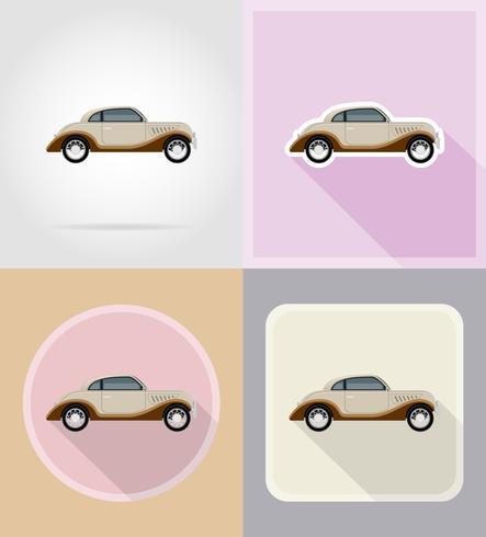oude retro auto plat pictogrammen vector illustratie
