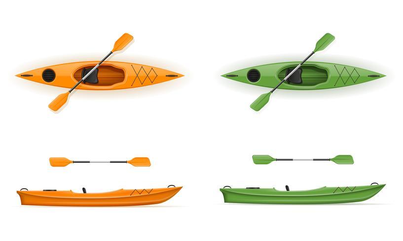 plastic kajak voor vissen en toerisme vectorillustratie vector