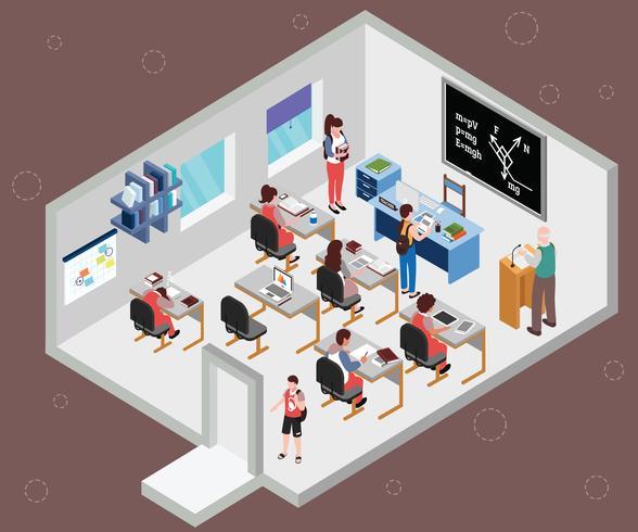 Isometrische Artwork Concept van klaslokaal van studenten vector