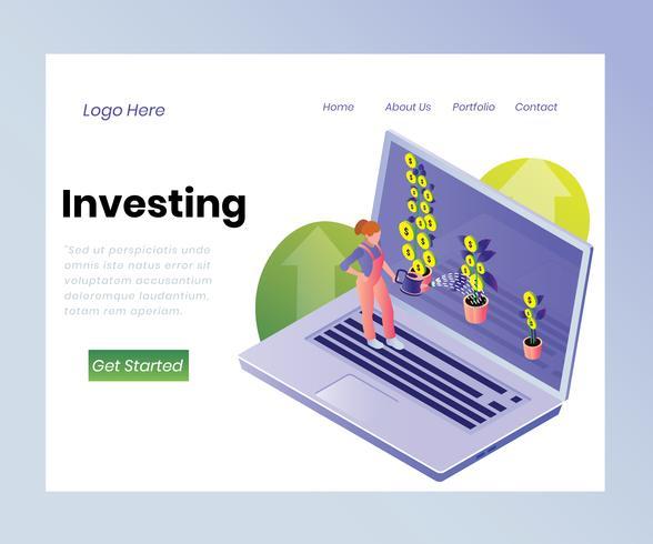 Isometrisch kunstwerkconcept van het beleggen van fondsen vector