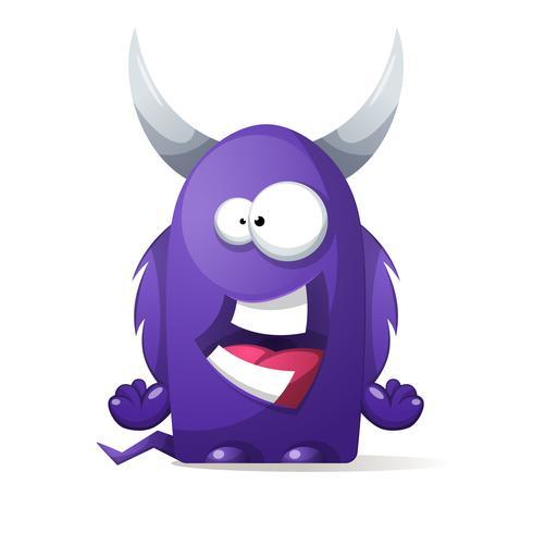 Vreselijk, schattig monster - stripfiguren. vector