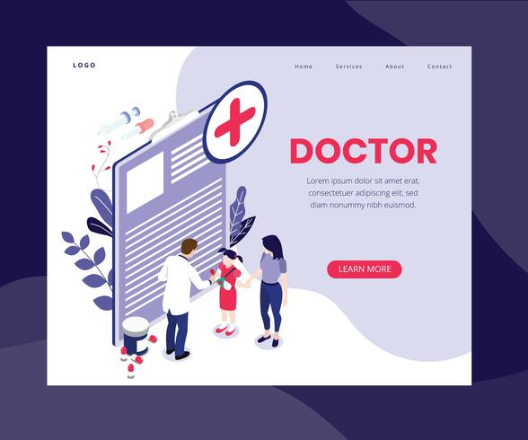 Isometrische Artwork Concept of Online Doctor vector