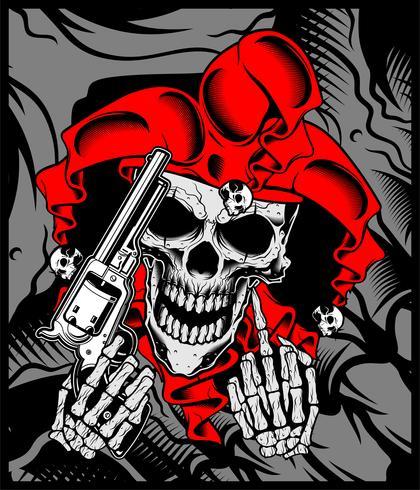 de schedel van de joker houdt een pistool.vector hand tekening vector