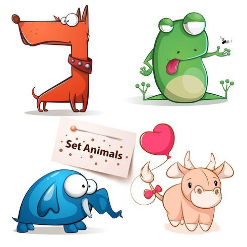 Hond, kikker, olifant, koe - set dieren. vector