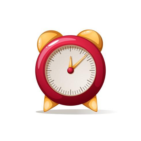 cartoon alarm rode klok. Schaduwen en reflecteren. vector
