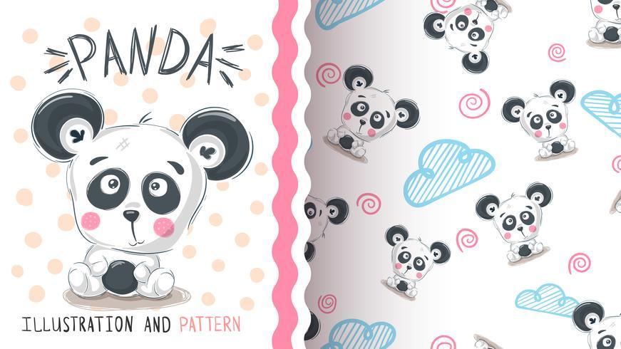 Leuke teddy panda - naadloos patroon vector
