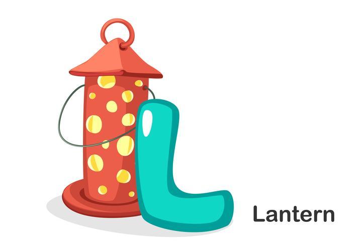 L voor lantaarn vector