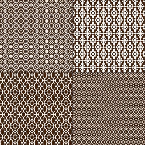 donkerbruine en witte Marokkaanse patronen vector