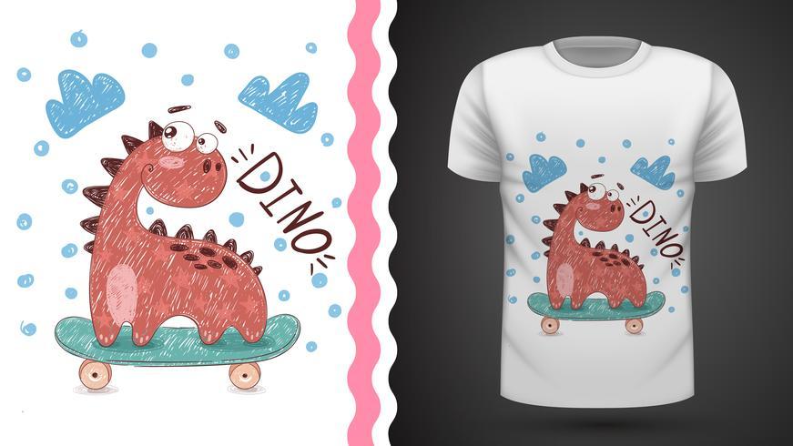 Dino sport skate - idee voor print t-shirt vector