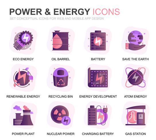 Modern Set Power Industry en energie Gradient Flat Icons voor website en mobiele apps. Bevat pictogrammen zoals zonnepaneel, Eco-energie, energiecentrale. Conceptuele kleur platte pictogram. Vector pictogram pack.