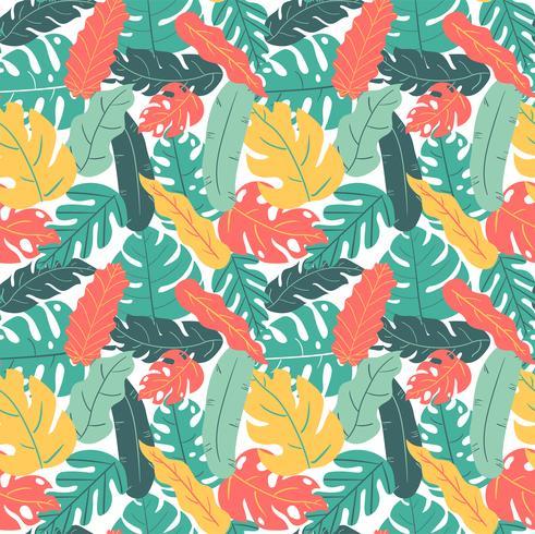 zomer en herfst kleur tropisch blad hand tekenen patroon naadloos vector