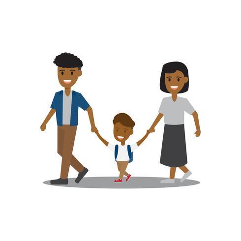 Familiekarakter. Kinderen en ouders lopen. vector