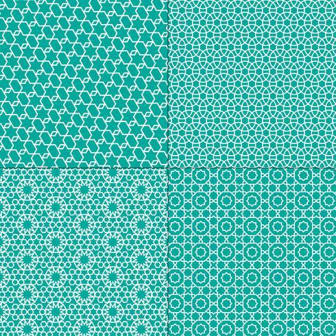 witte en turkooise blauwe Marokkaanse patronen vector