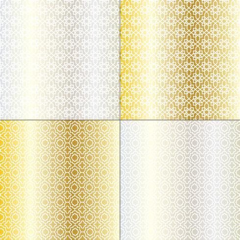 zilveren en gouden Marokkaanse patronen vector