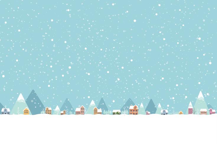 De stad in de sneeuw valt in vlakke kleur 001 vector