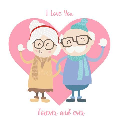 Leuk oud man en vrouwenpaar die de winterkostuum dragen vector