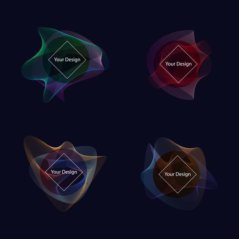 kleurrijke vloeistof en golf badges achtergrond voor creatief ontwerp vector