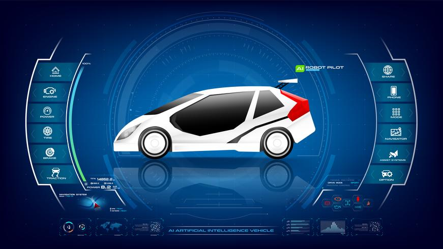 Elektronische EV-auto met AI-interface 001 vector