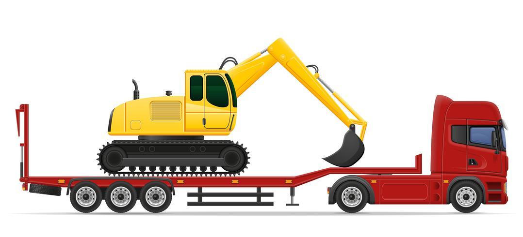 levering van de vrachtwagen de semi aanhangwagen en vervoer van het concept vectorillustratie van bouwmachines vector