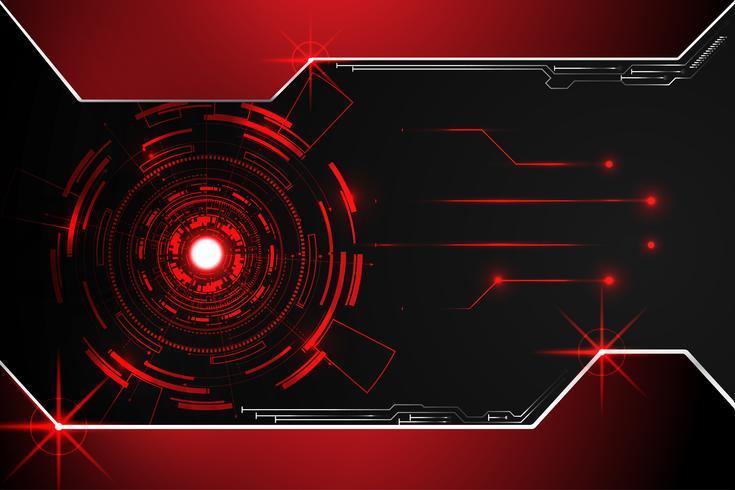 abstracte technologie achtergrond concept cirkel circuit digitaal metaal rood op hi-tech toekomstig ontwerp vector