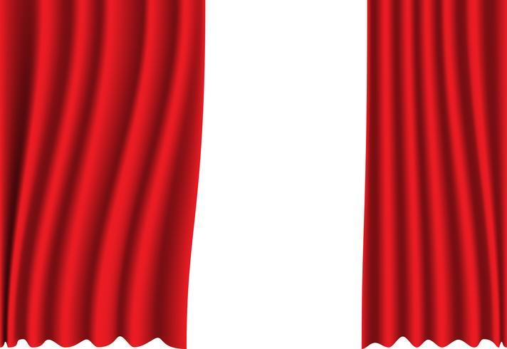 Rode gordijnstof op witte vectorillustratie als achtergrond. vector