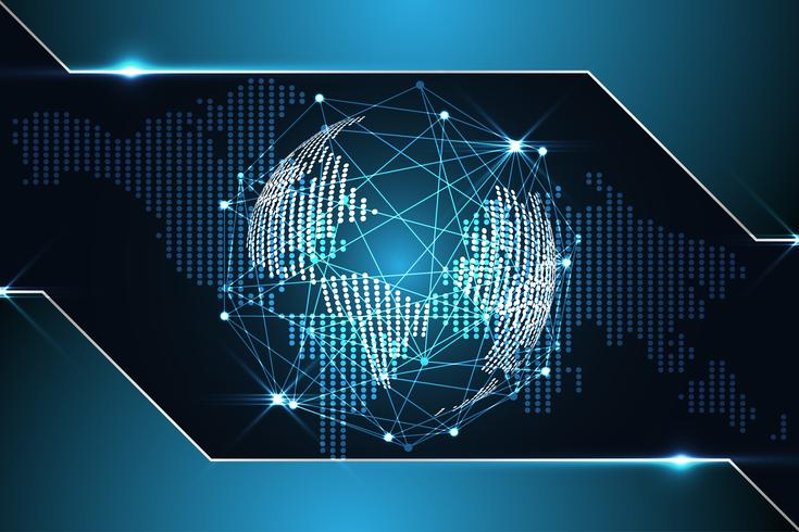 abstracte technologie achtergrond concept digitale wereldkaart dot metallic blauw op hi-tech toekomstig ontwerp vector