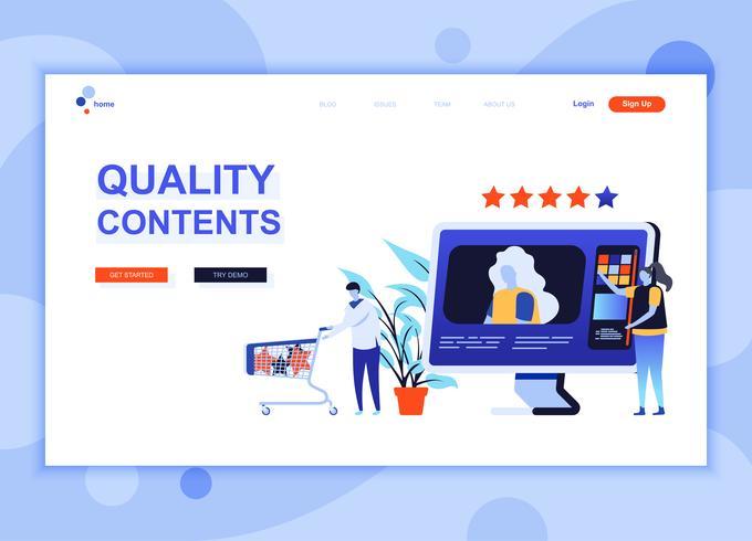 Moderne platte webpagina ontwerpsjabloon concept van Quality Content ingericht mensen karakter voor website en mobiele website-ontwikkeling. Sjabloon voor platte landingspagina's. Vector illustratie.