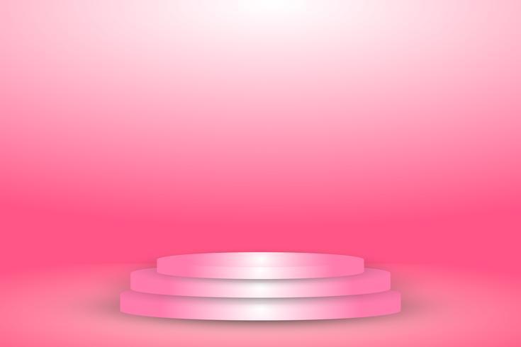 zacht roze stadium op muurbanner en studiorokal achtergrond vector