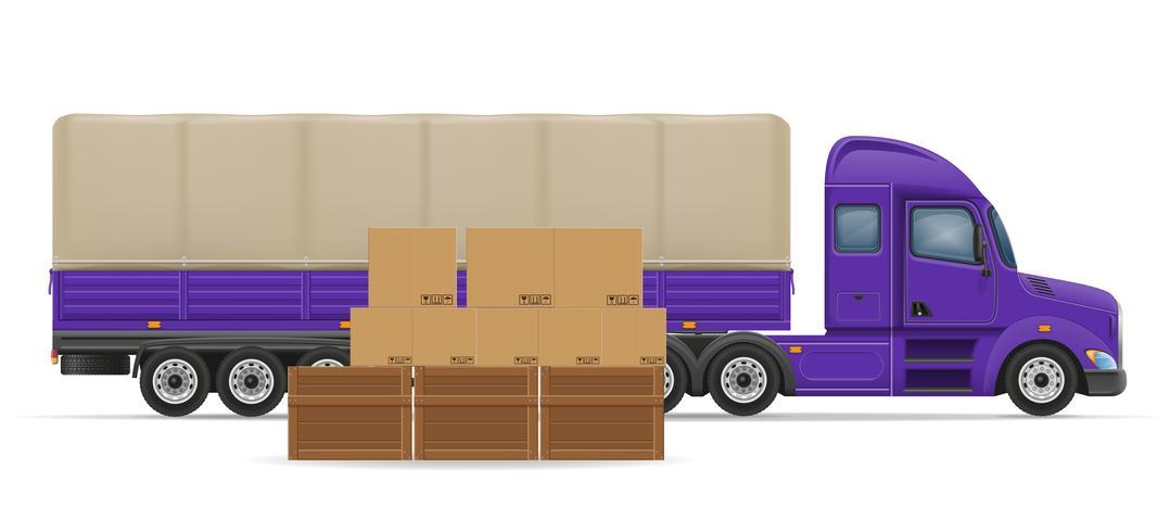 vrachtwagen oplegger voor transport van goederen concept vectorillustratie vector