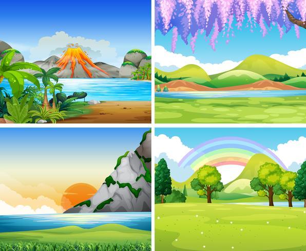 Vier natuurscènes met meer en park vector